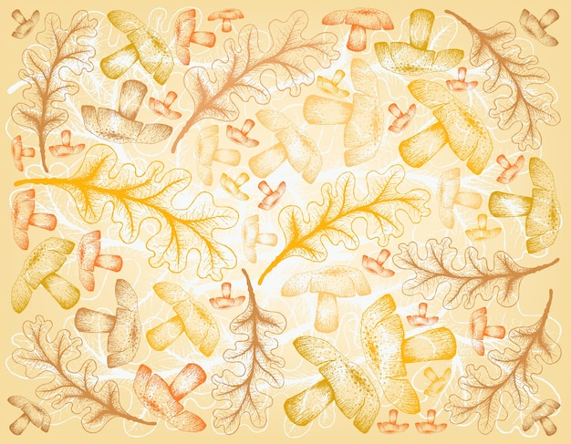 Fundo de mão desenhada de folhas de outono de carvalho e cogumelos