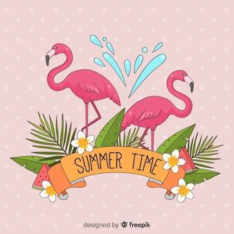 Fundo de mão desenhada flamingos