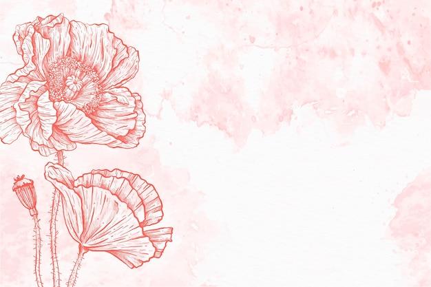 Fundo de mão desenhada flor natural em pó pastel