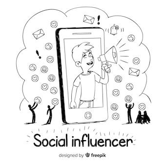 Fundo de mão desenhada influenciador social