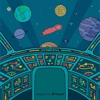 Fundo de mão desenhada nave espacial interior