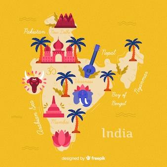 Fundo de mapa de india mão desenhada