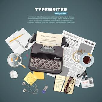 Fundo de máquina de escrever jornalista