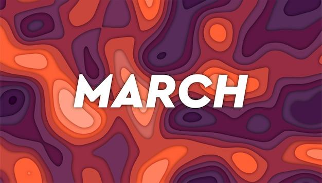 Fundo de março com formas de corte de papel,