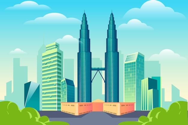 Fundo de marcos da cidade para videoconferência