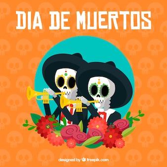 Fundo de mariachis comemorando o dia da morte