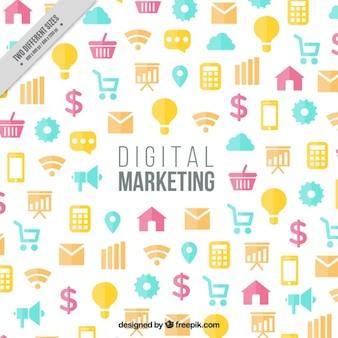 Fundo de marketing com ícones coloridos em design plano