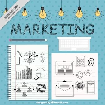 Fundo de marketing com ícones e lâmpadas