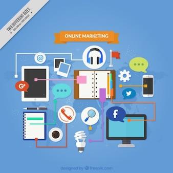 Fundo de marketing fantástica com dispositivos e ferramentas