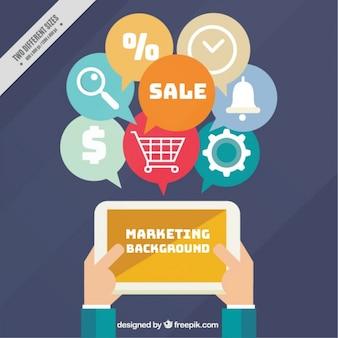 Fundo de marketing plano com ícones tablet e digitais