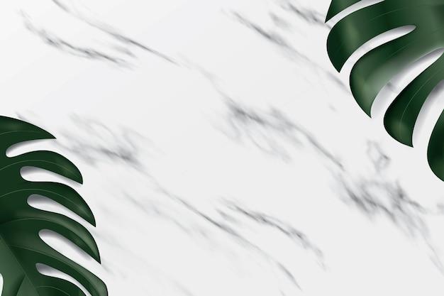 Fundo de mármore com folhas de monstera. uma plataforma realista para demonstração de produtos.