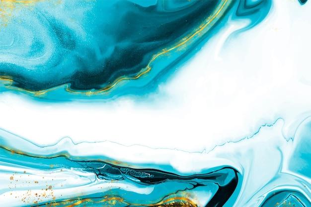 Fundo de mármore líquido realista com ouro