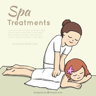 Fundo de massagem mão desenhada
