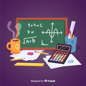 Fundo de material de matemática dos desenhos animados