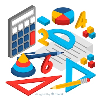 Fundo de material de matemática isométrica