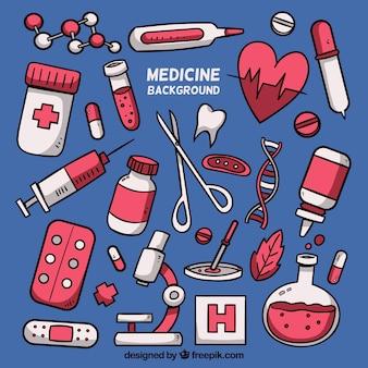 Fundo de medicina com elementos