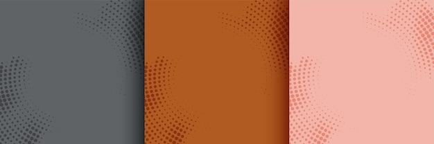 Fundo de meio-tom circular abstrato conjunto de três