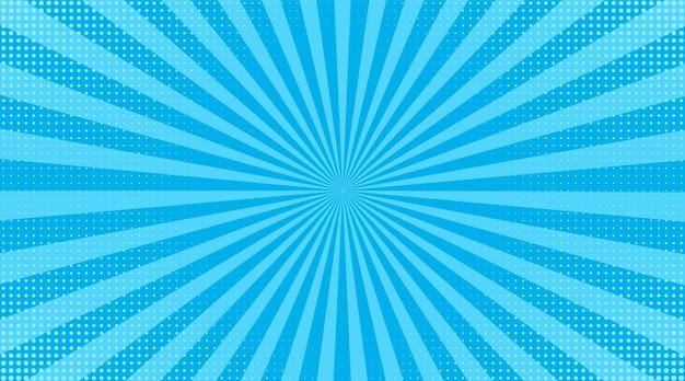 Fundo de meio-tom da pop art. efeito cômico do sunburst azul. Vetor Premium