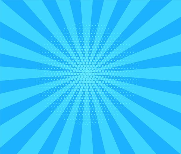Fundo de meio-tom da pop art. padrão de explosão estelar em quadrinhos. banner de desenho animado azul com pontos e raios