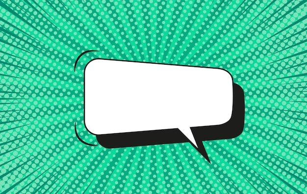Fundo de meio-tom da pop art. padrão de explosão estelar em quadrinhos. banner verde com balão de fala, pontos e feixes