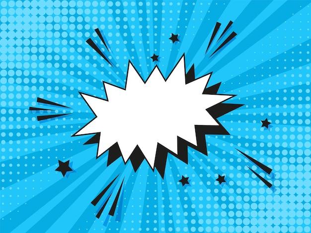 Fundo de meio-tom da pop art. padrão de explosão estelar em quadrinhos. impressão azul dos desenhos animados com bolha do discurso.