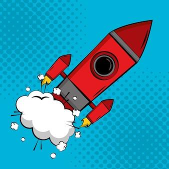 Fundo de meio-tom de lançamento de foguete de arte pop em quadrinhos