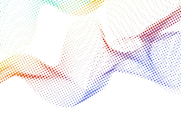 Fundo de meio-tom de pontos gradiente colorido ondulado abstrato, design de fundo de meio-tom