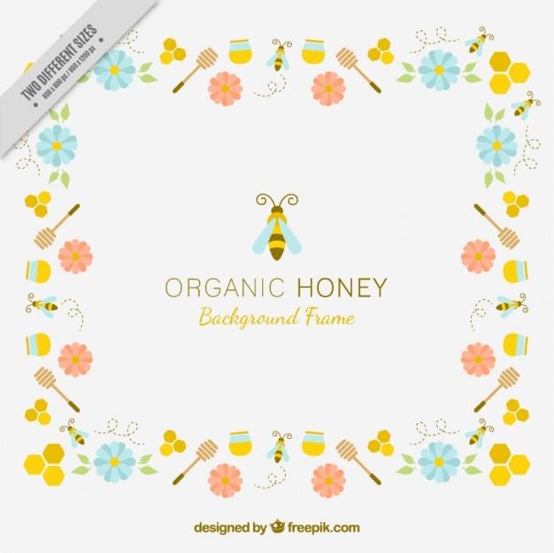 Fundo de mel orgânico com flores e abelhas