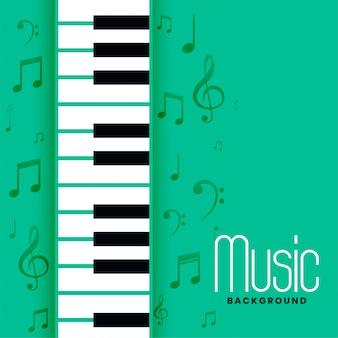 Fundo de melodia de notas musicais e piano