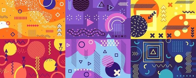 Fundo de memphis capa funky abstrata com formas geométricas pop art retro dos anos 80 e poster do estilo dos anos 90