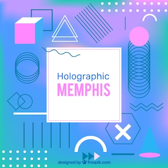 Fundo de memphis colorido com efeito holográfico