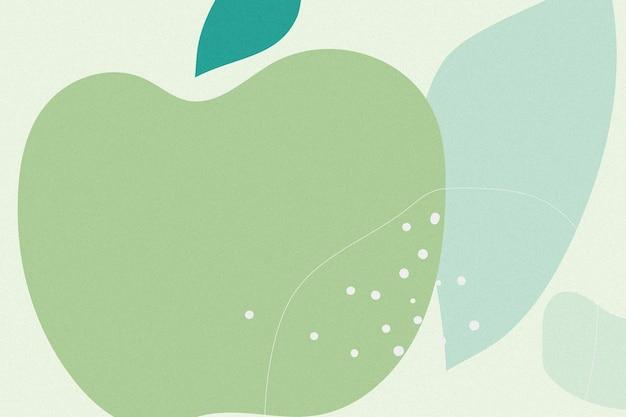 Fundo de memphis com maçã verde desenhada à mão