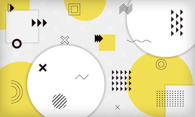 Fundo de memphis geométrico amarelo abstrato modelo de design moderno e minimalista