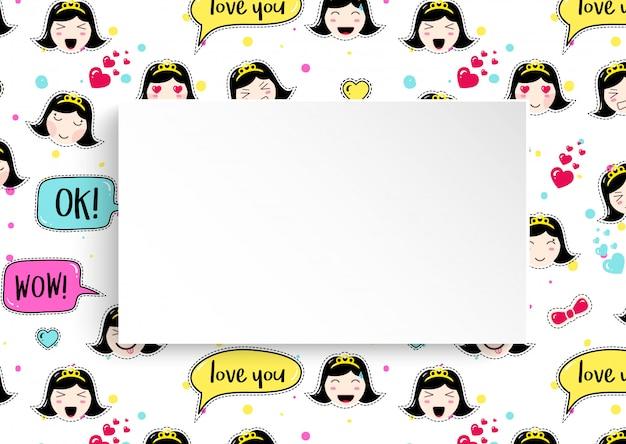 Fundo de menina com avatares de anime emoji. adesivos fofos com emoticon e papel 3d. fundo infantil menina com rostos asiáticos kawaii.