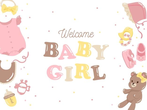 Fundo de menina com elemento bebê na cor rosa Vetor Premium