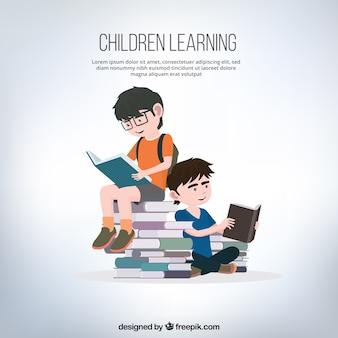 Fundo de meninos de leitura de livros