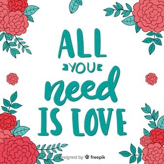 Fundo de mensagem romântica com flores
