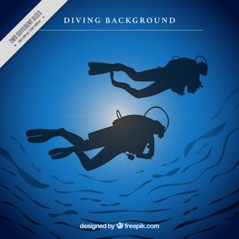 Fundo de mergulhadores silhuetas