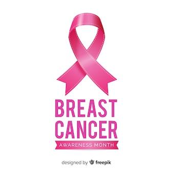 Fundo de mês de conscientização de câncer de mama com fita rosa