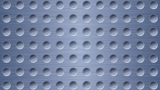 Fundo de metal abstrato com orifícios em cores azuis