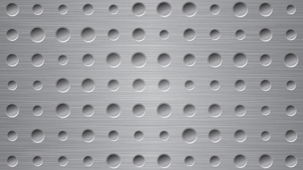 Fundo de metal abstrato com orifícios em cores cinza