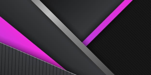 Fundo de metal abstrato moderno preto metálico com camadas de sobreposição de luz magenta