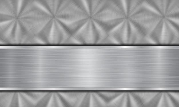 Fundo de metal abstrato nas cores prata, composto por superfície metálica com textura circular escovada e placa de metal polida com bordas brilhantes