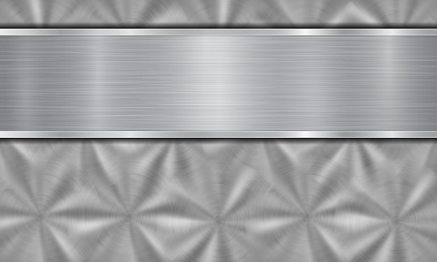 Fundo de metal abstrato nas cores prata, composto por uma superfície metálica com textura circular escovada e placa de metal polida com bordas brilhantes