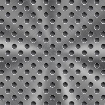 Fundo de metal brilhante abstrato na cor prata com textura circular escovada e orifícios redondos