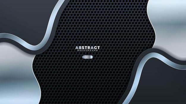 Fundo de metal perfurado com design de onda de aço inoxidável, ilustração vetorial de fundo futurista de luxo moderno. adequado para web banner, cartazes, folheto, capa, brochura