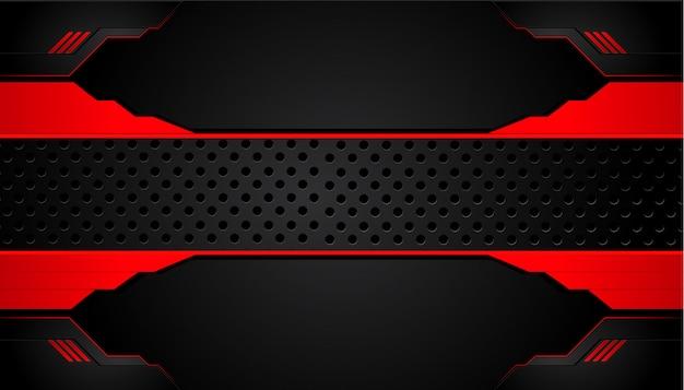 Fundo de metal preto e vermelho. bandeira metálica de vetor. abstratos, tecnologia, fundo