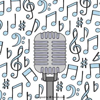 Fundo de microfone com notas musicais