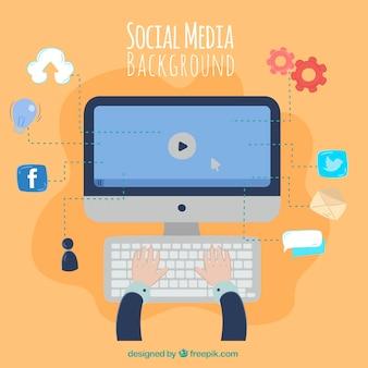 Fundo de mídia social com computador e ícones