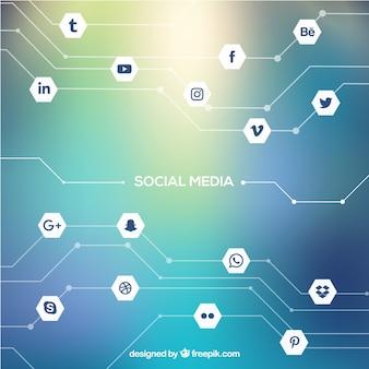 Fundo de mídia social com design plano